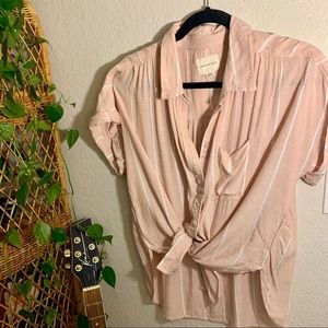 AE Short Sleeve Button Up Top